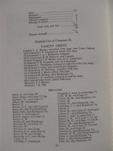 COMPLETE ROSTER HISTORY OF 14th REGIMENT ALABAMA VOLUNTEERS CSA 1863 REPRINT