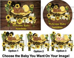 Woodland Sunflower Sleeping Baby Girl Edible Cake Image Cupcakes Sunshine Baby Ebay