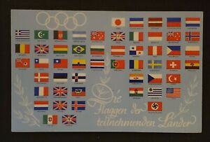 1936 Berlin Germany Brussels Olympics Stamp Flags of Countries Postcard Cover