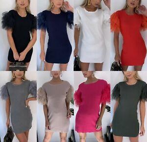 Damen-Damen-Feinripp-Tuell-Rueschen-Puff-Sleeve-T-Shirt-Mini-Strickkleid-Top