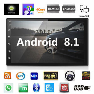 Android 8.1 Car Stereo GPS Navigation Bluetooth Radio Player Double Din WIFI 7""