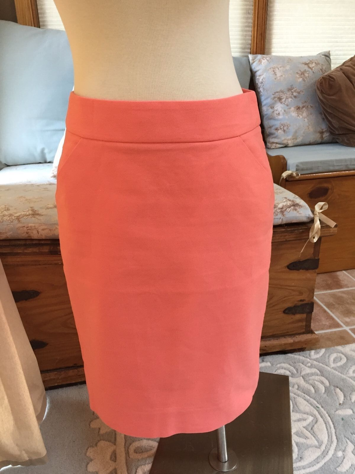 J. Crew Coral Salmon Pink The Pencil Skirt 6 Excellent