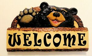 Carved-Wooden-Waving-Black-Bear-Welcome-Sign