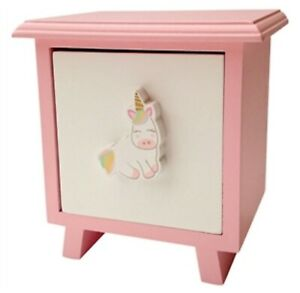 Details about New Unicorn Single Drawer Pink Wooden Keepsake Cabinet Girls  Bedroom Storage Box
