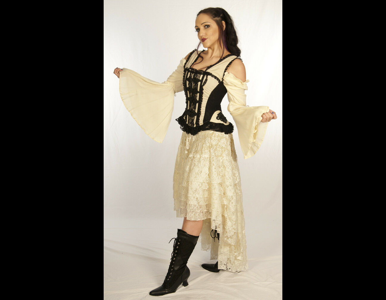 Burleska UK Steampunk Pirate Beach Wedding Cascading Creme Lace Hi-Lo Skirt 2X