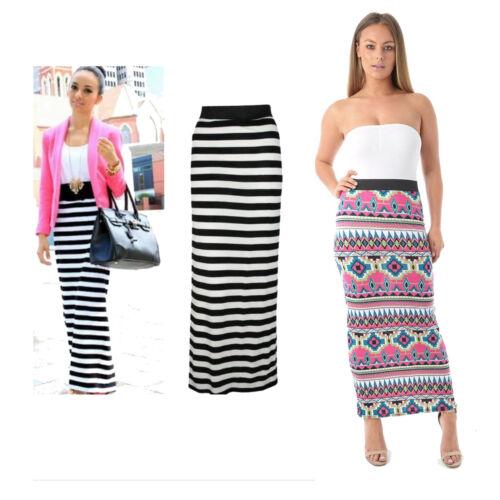 Women/'s Ladies Gypsy Maxi Skirt Aztec Stripe Print Elasticated Waist Full Length