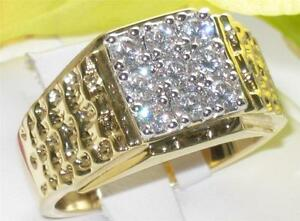 Z2W062-MANS-SIMULATED-DIAMOND-9STONE-3-5CT-MENS-RING-ALL-SIZES-SIGNET-PINKY-GOLD