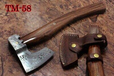"""16"""" Long Hand Forged Damascus Steel Battle Axe, 4"""" Cutting Edge, Leather Sheath Proporcionar Servicios Para La Gente; Haciendo La Vida MáS FáCil Para La PoblacióN"""