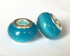 Blue Cat's Eye Gemstone Glass Charm Bead For European Bracelets Silver Core, 1pc