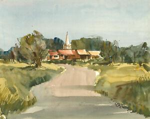 Clifford-H-Thompson-1926-2017-Mid-20th-Century-Watercolour-Autumnal-Path
