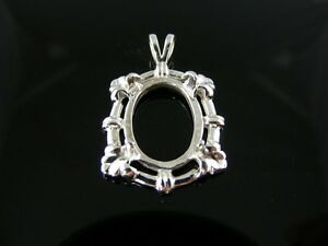 DP32 Pendant Setting Sterling Silver 16X12MM Oval Stone