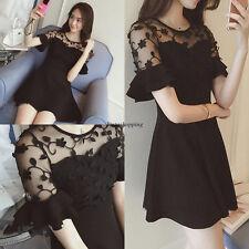 Fashion Korean Women Slim Summer Party Casual A Line Black Short Dress Plus Size