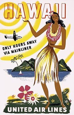TX238 Vintage 1950's Hawaii hula Girl Airline Travel Poster Re-Print A1/A2/A3/A4