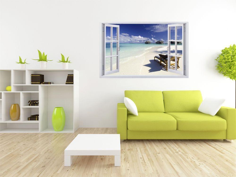 Chaise de Plage Mer Eau Soleil Mural Sticker Sticker Mural Autocollant f0025 f25c29