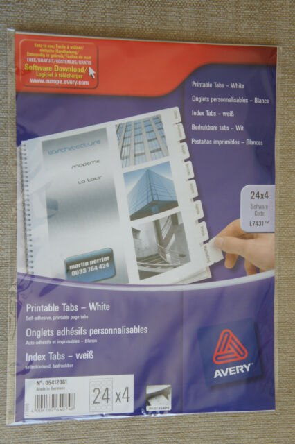 image about Avery Printable Tabs identified as Av64074 Avery Divider Printable Tabs White 05412061