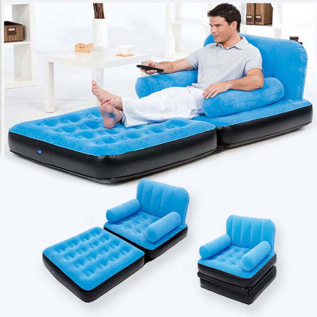 Multifunction Inflatable Couch Blue Double: Multi Max Inflatable Pull-Out Sofa-couch Full Double Air