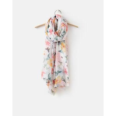 Joules 124757 Womenss Printed Scarf ONE in Cream Bird Clematis in One Size