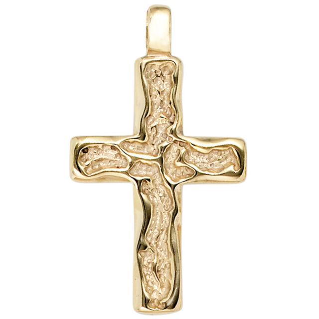 Unisex Anhänger Kreuz 585 Gold Gelbgold gehämmert Kreuzanhänger Goldkreuz