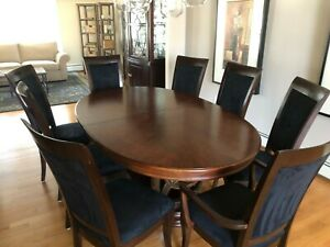 Details About Extending Oval Pedestal Dining Table With 2 Leaves And 8 Chairs