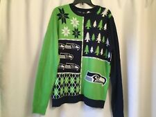 Seattle Seahawks Ugly Christmas Sweater Bluegreen Authentic Nfl Sz