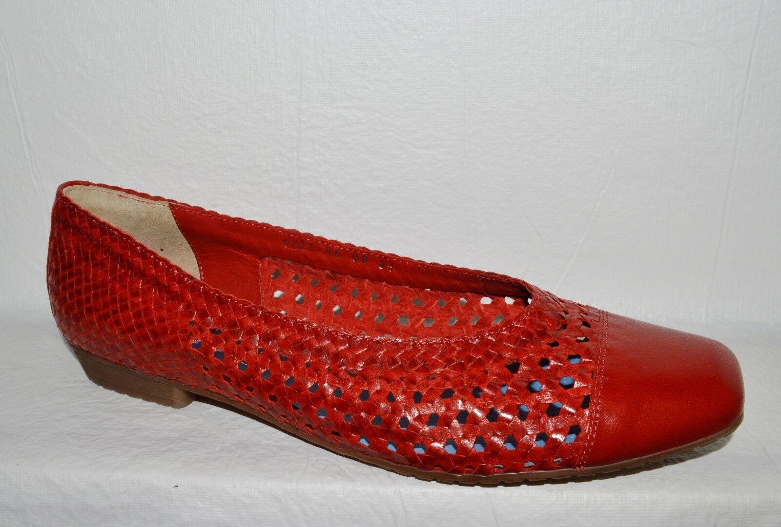 Ara Taille 11 M 42.5 rouge en cuir tressé Flats chaussures Allemagne