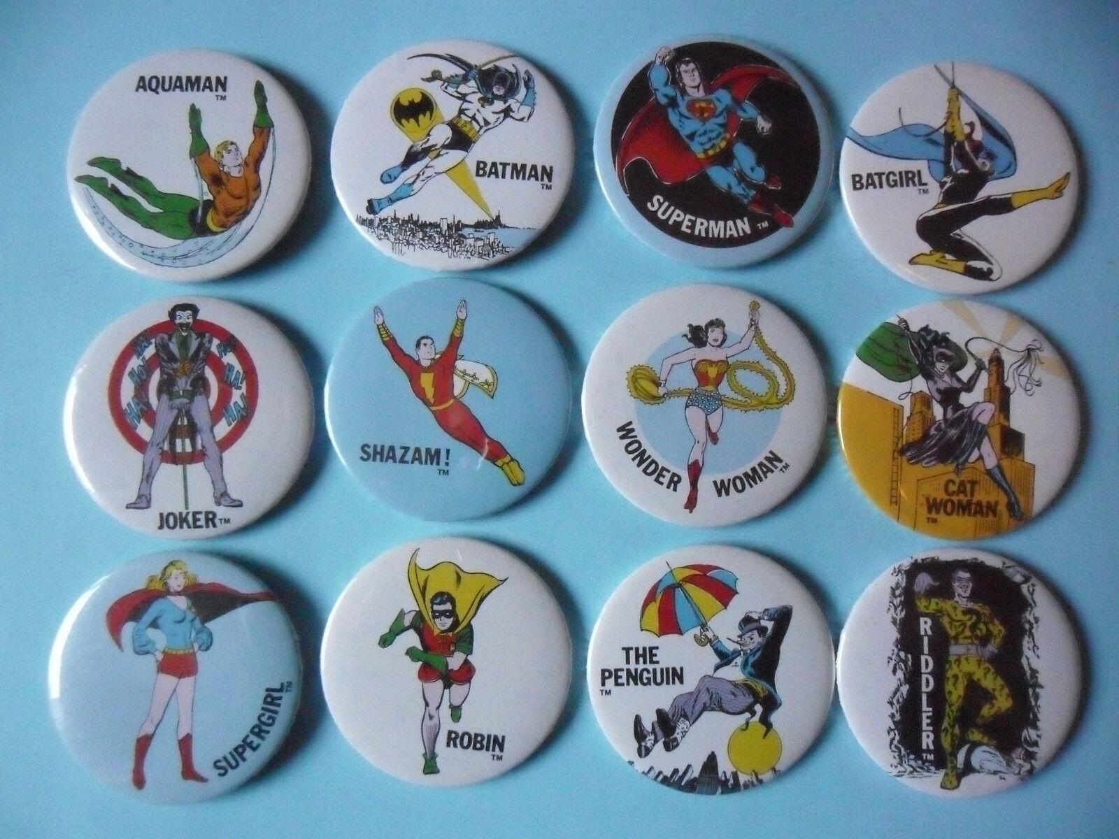 VINTAGE DC COMICS SUPER POWERS BADGES COMPLETE COLLECTION RAINBOW DESINGNS
