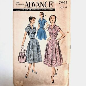 Vintage 1950s ADVANCE Sewing Pattern Dress Flared Gore Skirt Patch Pockets sz 14
