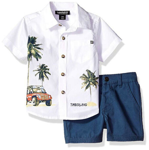 Timberland Infant Boys White /& Blue 2pc Short Set Size 3//6M 6//9M 12M 18M 24M $50