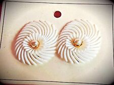 NOS 1950's Vintage White soft plastic swirl flower pearl clip on earring GERMANY