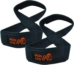 Weight Lifting Shrugs for Deadlift IRON APE Figure 8 Straps and Weightliftin