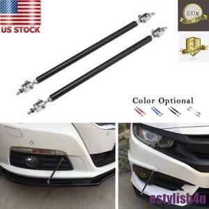 2xAdjustable Front Bumper Lip Splitter Strut Rod Tie Stainless Steel Support Bar