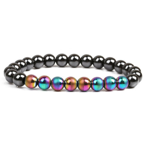 Magnetic Therapy Hematite Stone Beads Health Care Bracelet Weight Loss Jewelr LC