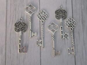 6-Antique-Silver-color-vintage-Key-Charm-Pendant-findings-wedding-Mix-Steampunk