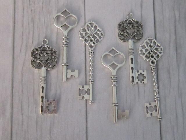6 Antique Silver color vintage Key Charm Pendant findings wedding Mix Steampunk