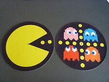 """Pair  (2) PAC MAN 12"""" or 7"""" Pro DJ SLIPMATS slipmat electro hip hop turntablism"""