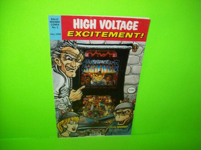 Bally STRANGE SCIENCE Original 1986 NOS Pinball Machine Promo Flyer Comic Book