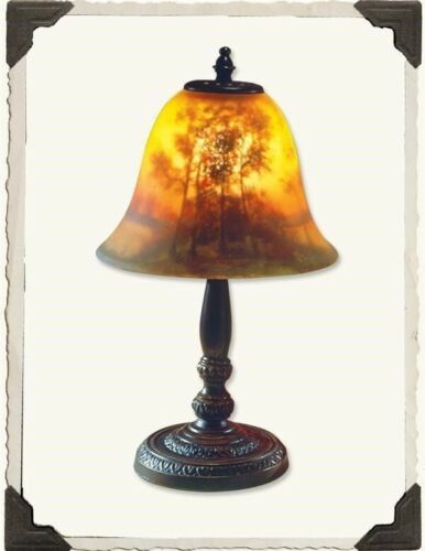 Victorian Trading Co Woods At Dusk Reverse Hand Painted Glass Lamp New