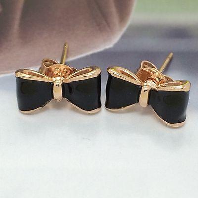 Women Fashion Jewelry Ladies Silver Cute Black Bow Tie Gift Stud Earrings