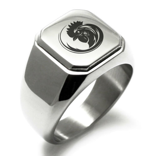Stainless Steel Tribal Rooster Design Mens Square Biker Style Signet Ring
