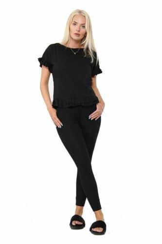 Women Ladies Frilled Ruched Short Sleeve Tracksuit Loungewear Top Bottom Set