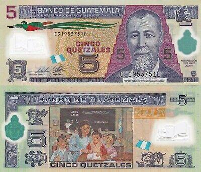 Stylized Turtle P122b 11.5.2011 Guatemala 5 Quetzales Unc Polymer Banknote