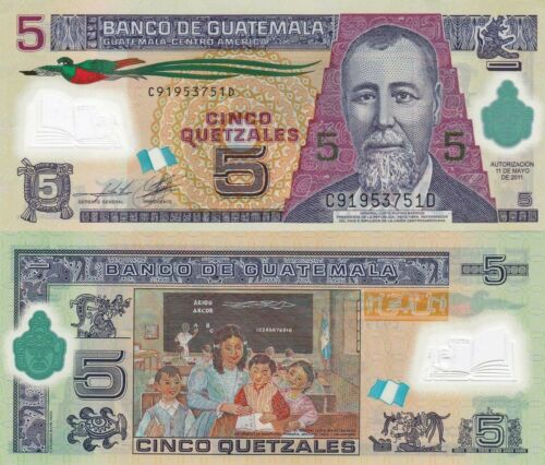 Guatemala 5 Quetzales 11.5.2011 Polymer Note//p122b UNC