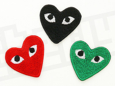 CDG PLAY Red Emo Black Green Iron Sew on Patch Transfer Motif