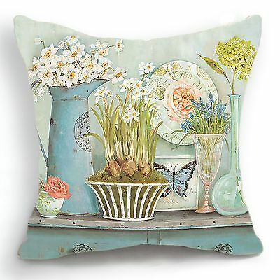 Retro Vintage Green Flower Vase Home Decorative Pillow Case Cushion Cover 18''