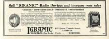 1926 Igranic Radio Devices Electric Bedford Works Old Advert