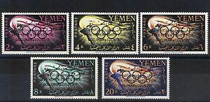 KINGDOM-of-YEMEN-1963-OLIMPIADI-TOKIO-SOPRAST-YT-138-42-STAMPS-5v-MNH-F16