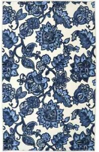 5 X 8 Ft Blue White Floral Area Rug Flower Pattern Synthetic