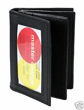New Mens Bifold Leather ID Wallet Black Classic Style Credit Card 774 Slim WB