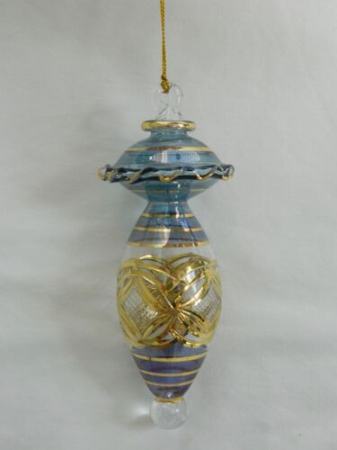 """Egyptian Mouth Blown Fancy Gold Etched Glass Christmas Ornament 6/"""" 699"""