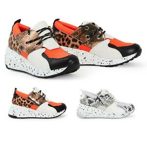 Kompetent Ladies Animal Print Chunky Sole Paint Trainers Womens Shoes